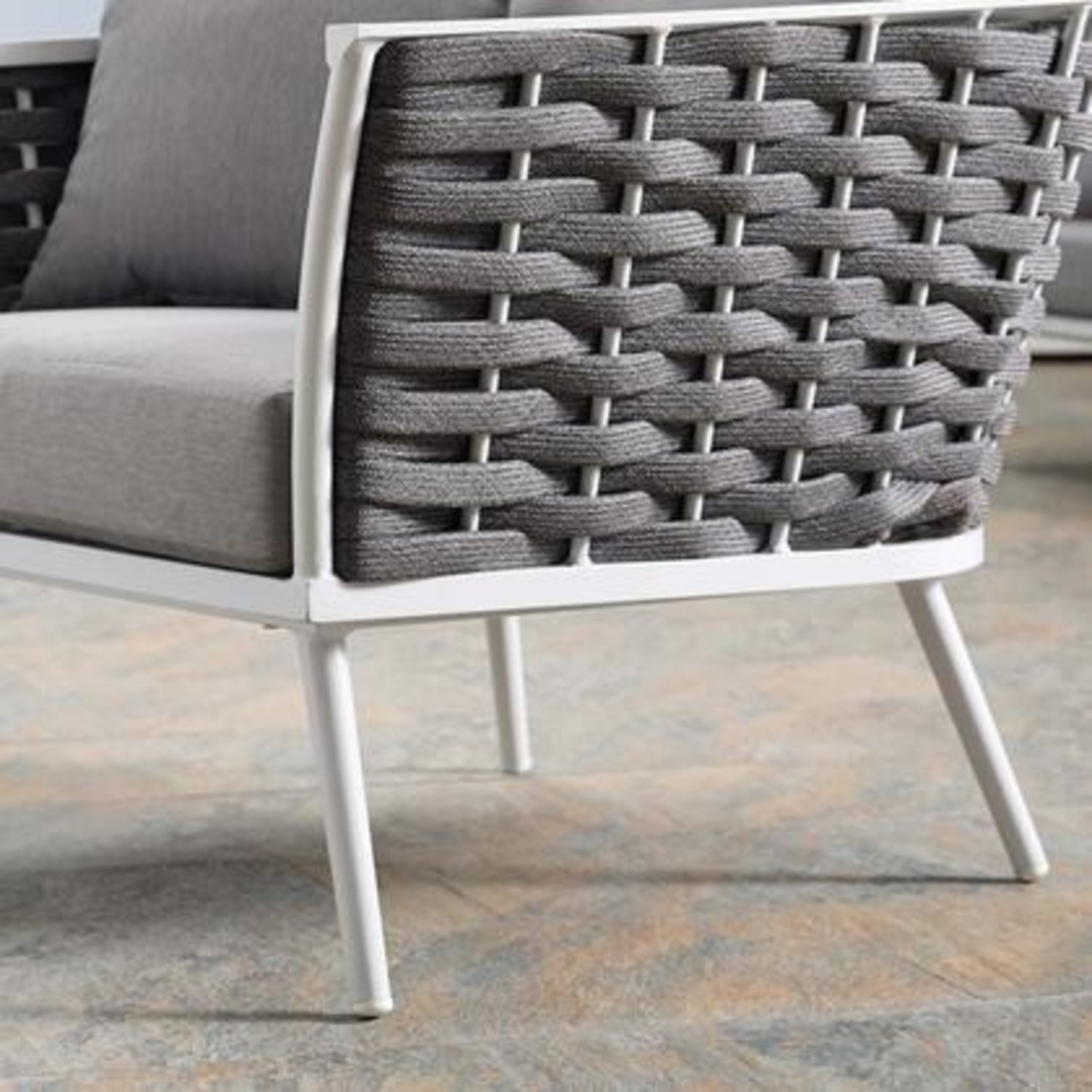Outdoor Armchair In Gray Fabric W/ Woven Frame - image-4
