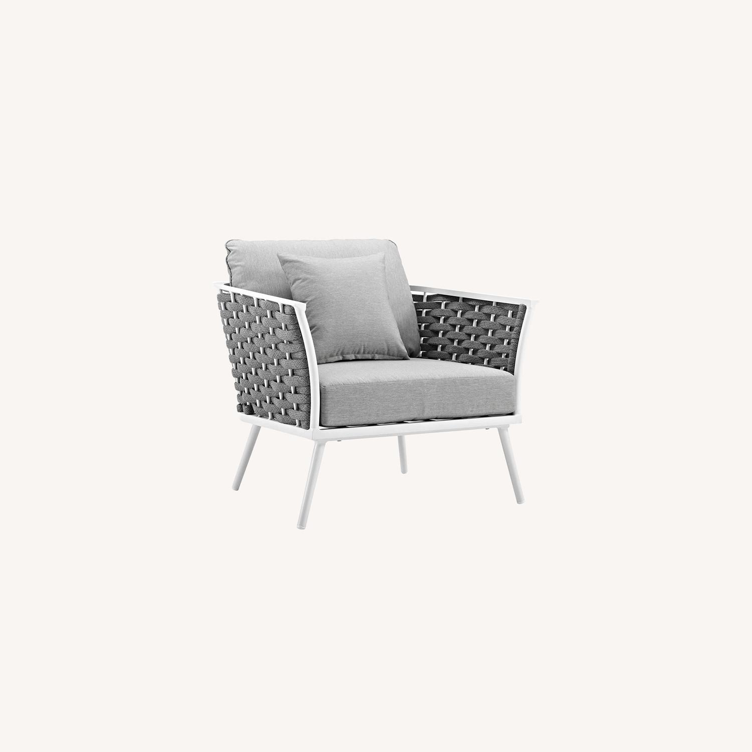 Outdoor Armchair In Gray Fabric W/ Woven Frame - image-6