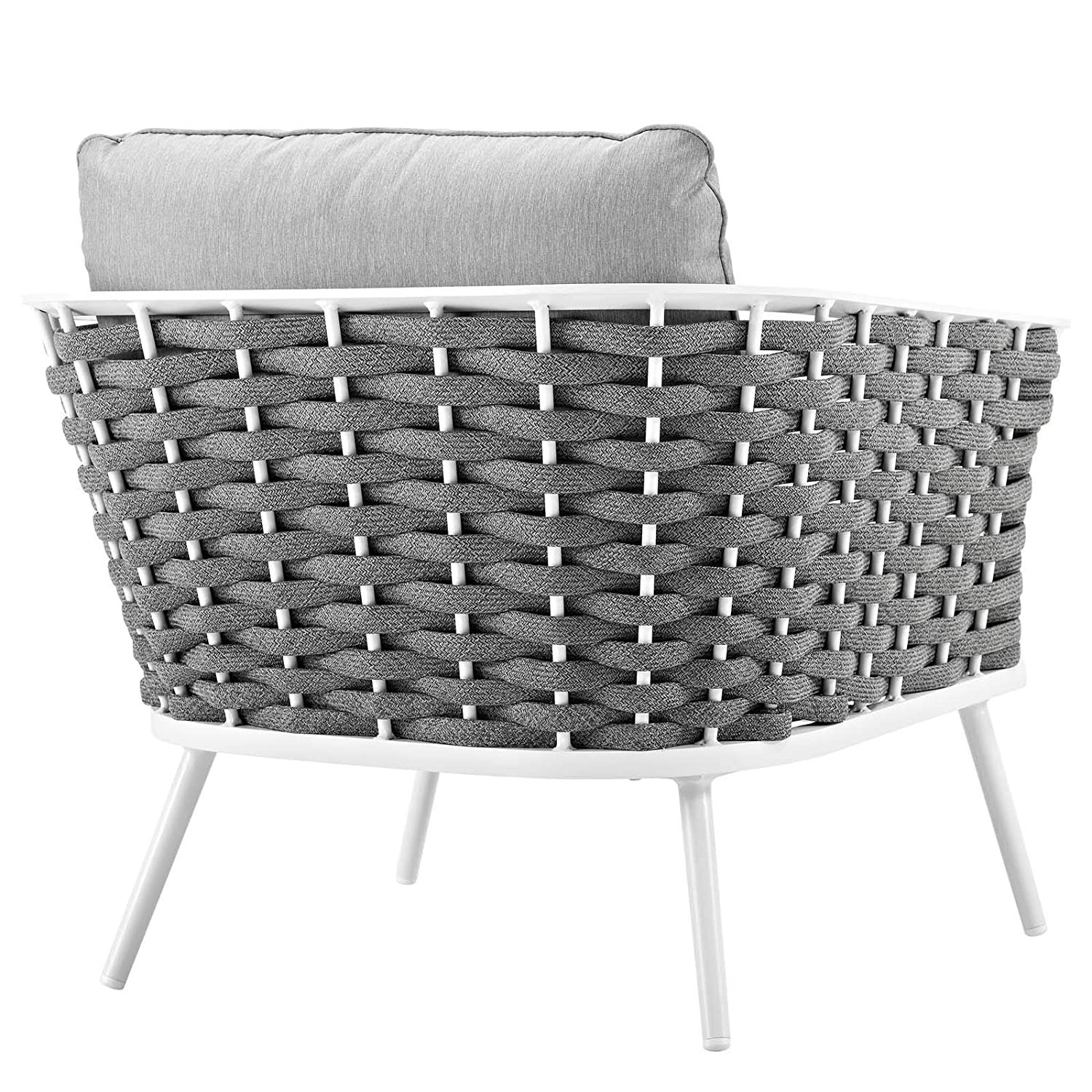 Outdoor Armchair In Gray Fabric W/ Woven Frame - image-1