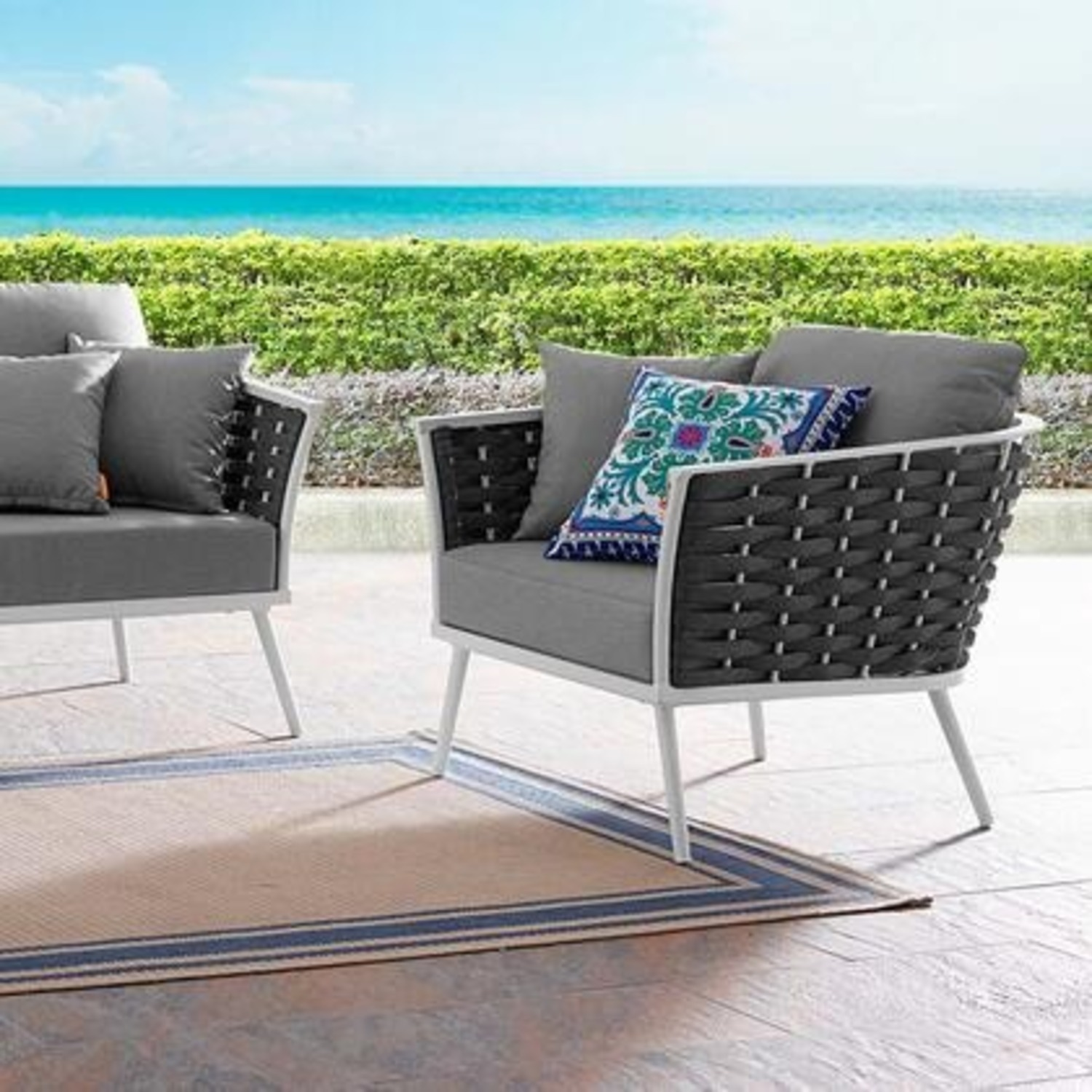 Outdoor Armchair In Gray Fabric W/ Woven Frame - image-5