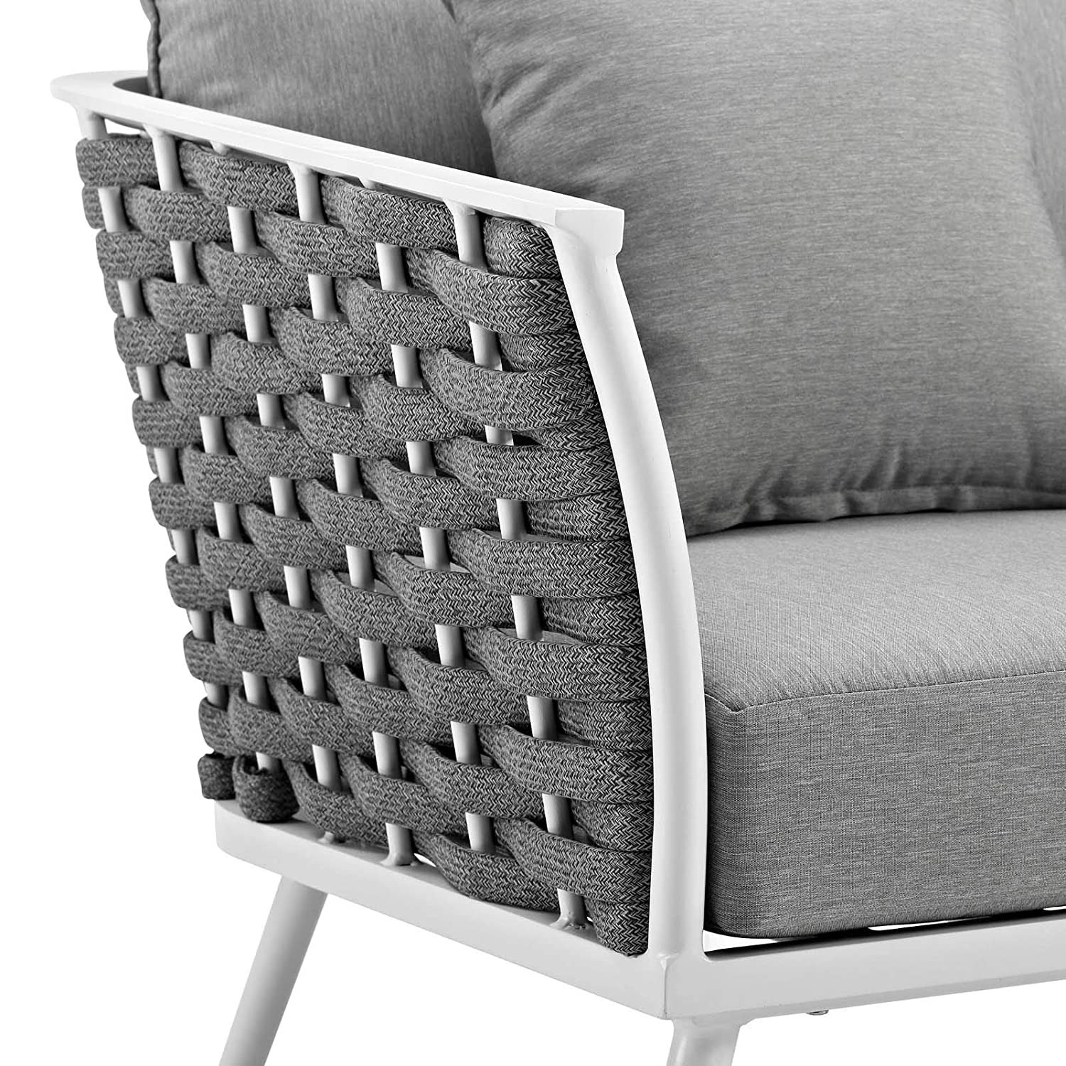 Outdoor Armchair In Gray Fabric W/ Woven Frame - image-3