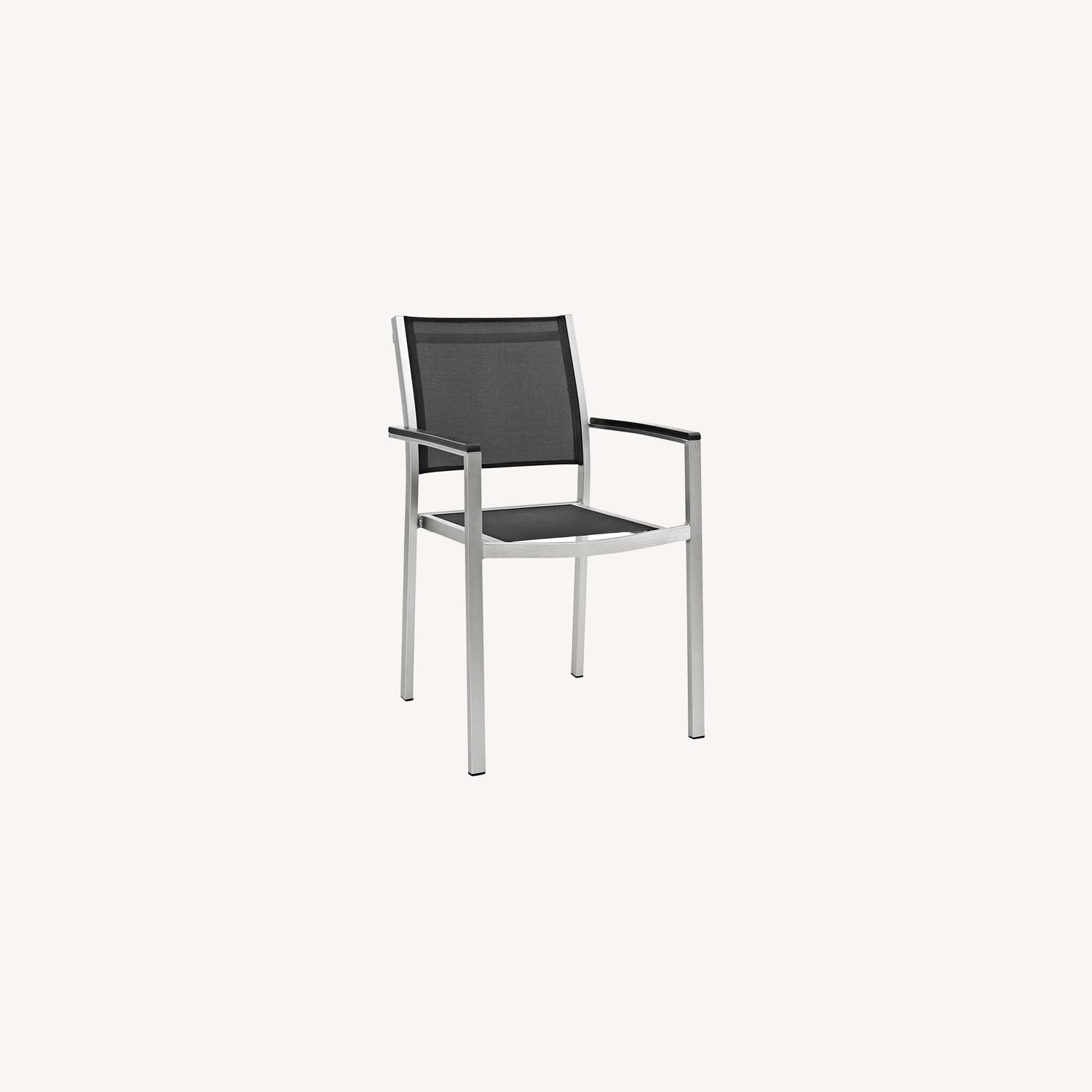 Outdoor Dining Chair In Black Mesh Finish - image-5