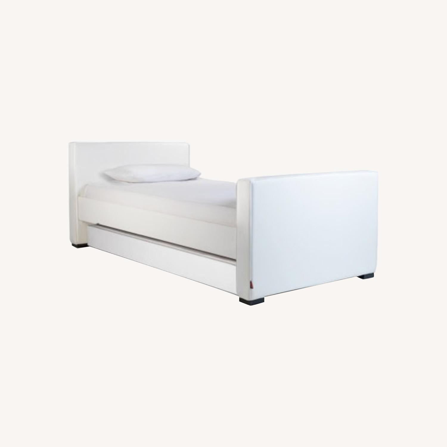White Leather Twin Trundle Bed - image-0