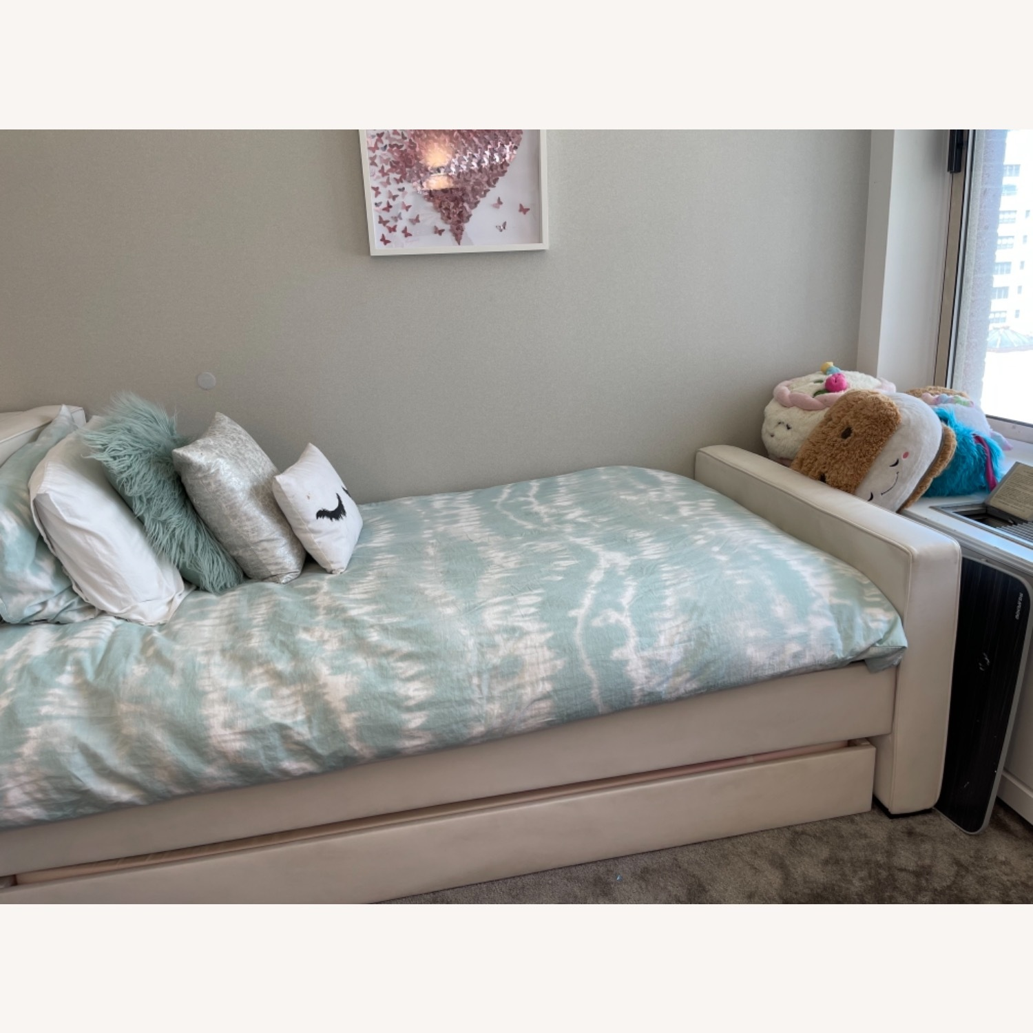 White Leather Twin Trundle Bed - image-2