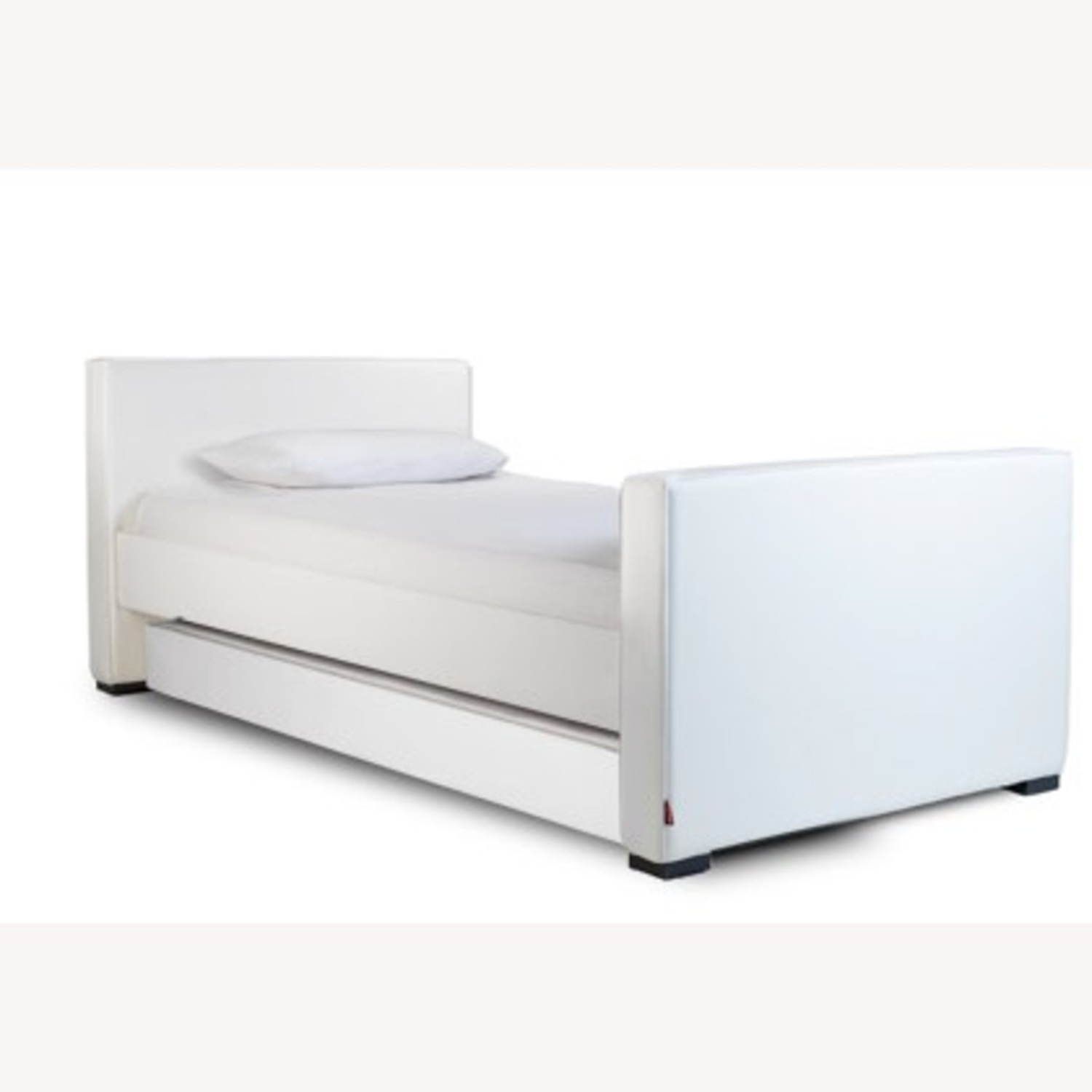 White Leather Twin Trundle Bed - image-1