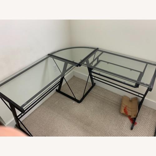 Used Walker Edison Ellis Glass/Metal Corner Desk for sale on AptDeco