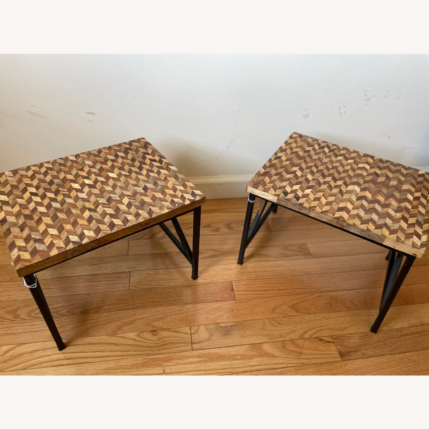 Pair of Industrial Wooden End Tables - image-1
