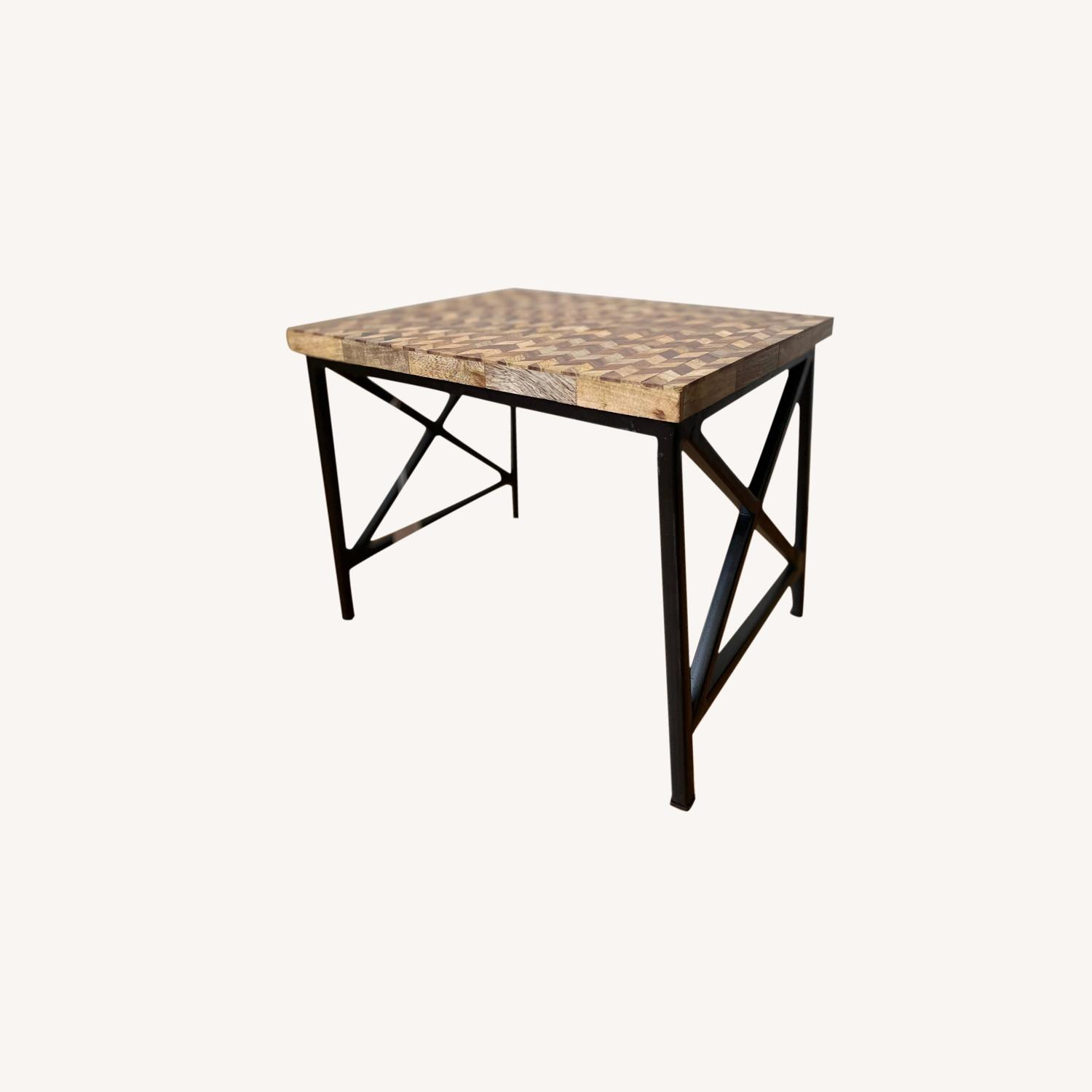Pair of Industrial Wooden End Tables - image-0