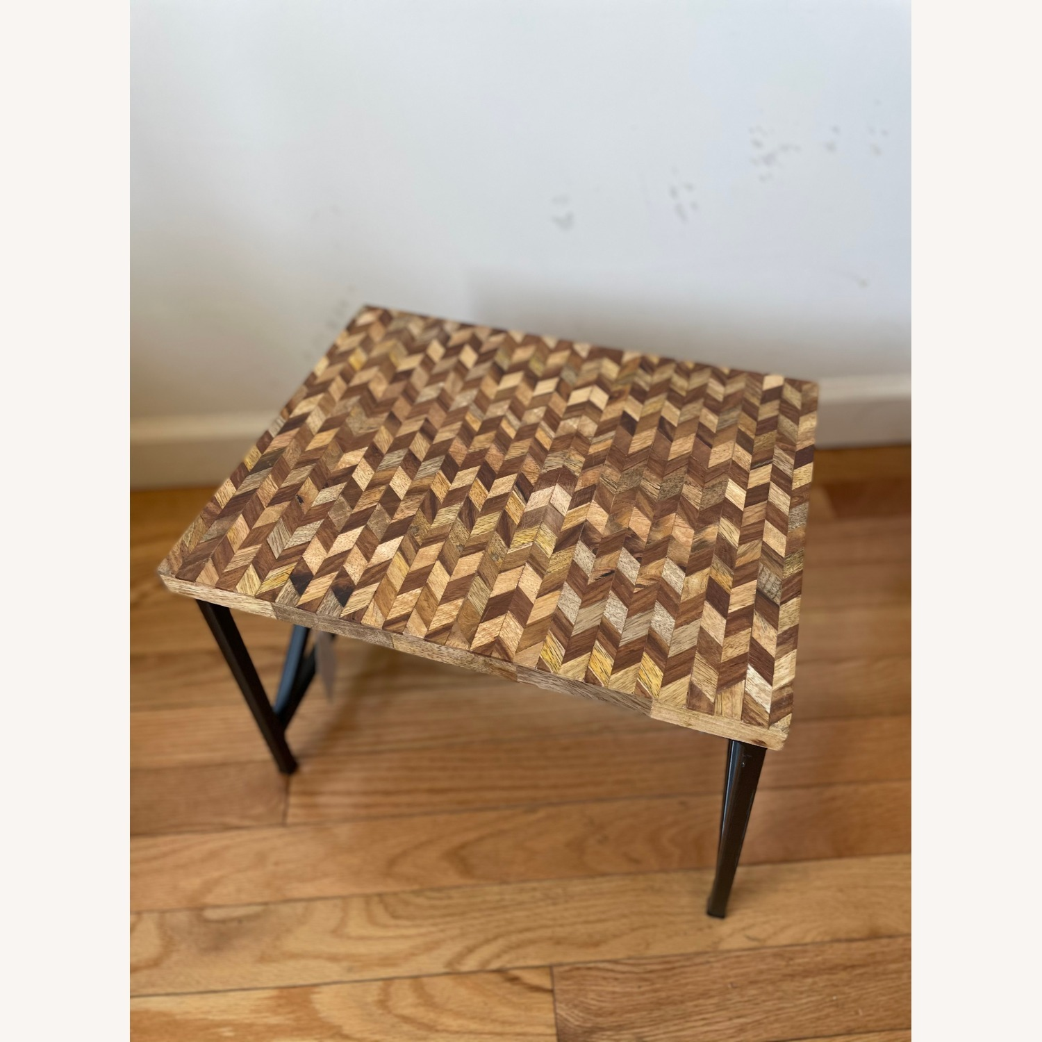 Pair of Industrial Wooden End Tables - image-3