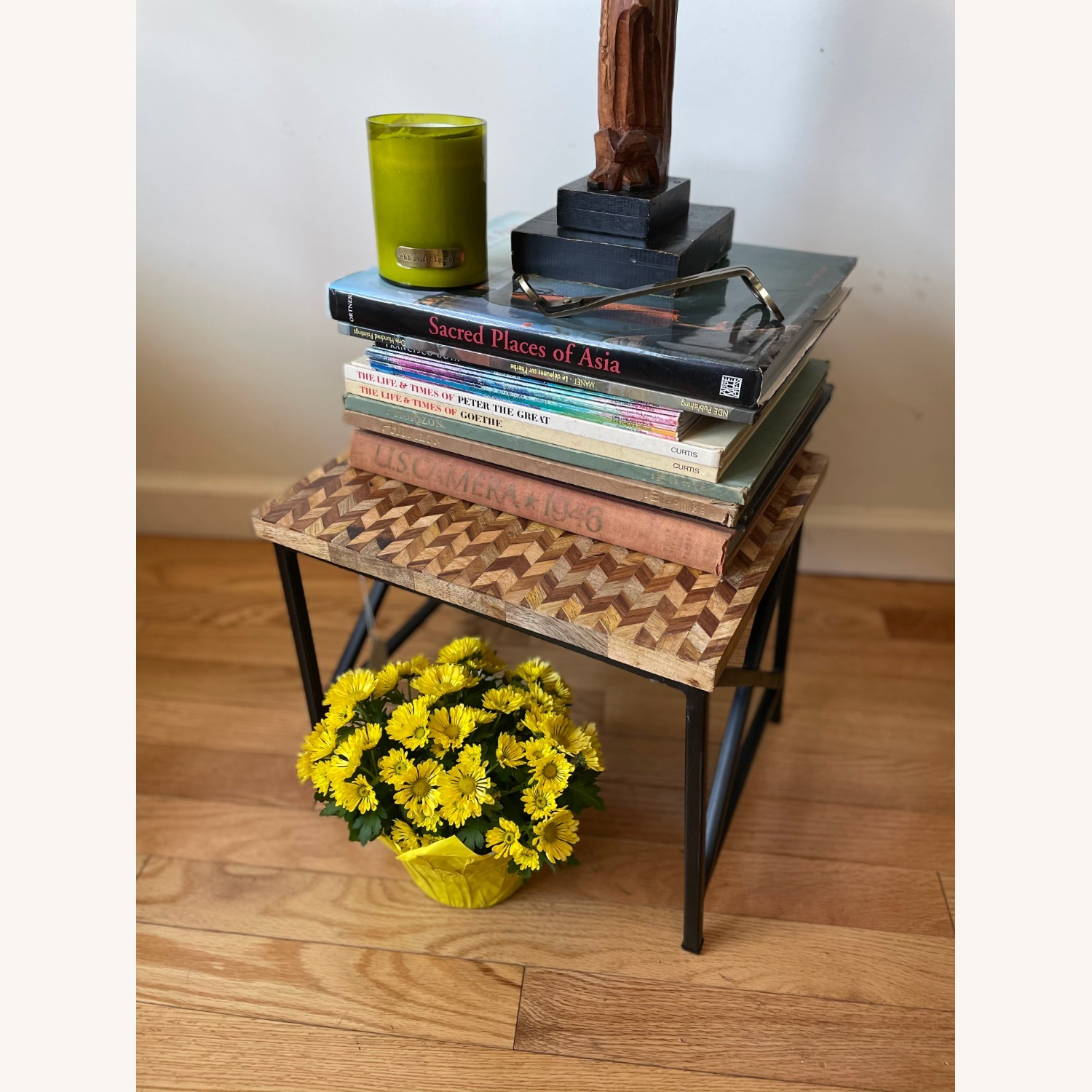 Pair of Industrial Wooden End Tables - image-6