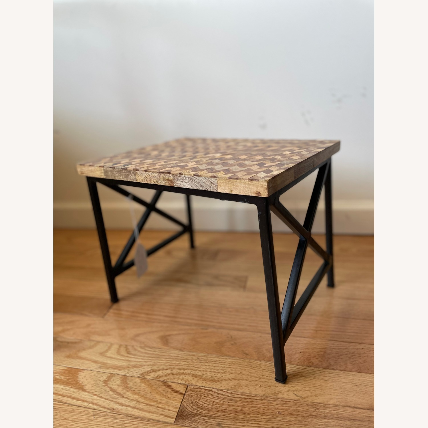 Pair of Industrial Wooden End Tables - image-4
