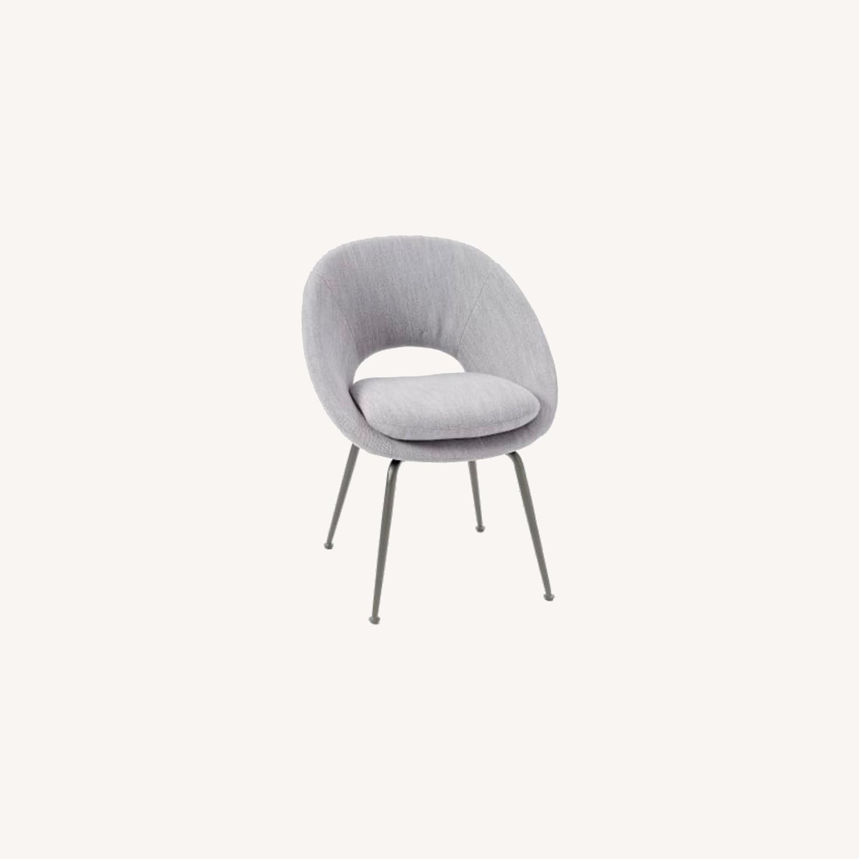 West Elm Orb Chair Distressed Velvet Mineral Gray - image-0