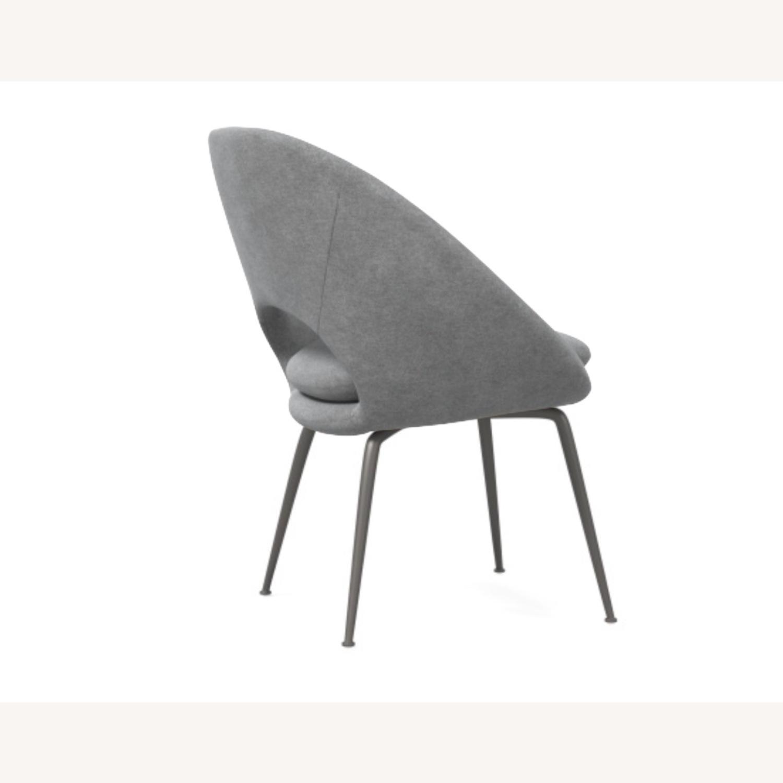 West Elm Orb Chair Distressed Velvet Mineral Gray - image-3