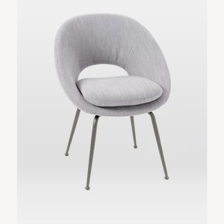 West Elm Orb Chair Distressed Velvet Mineral Gray - image-1