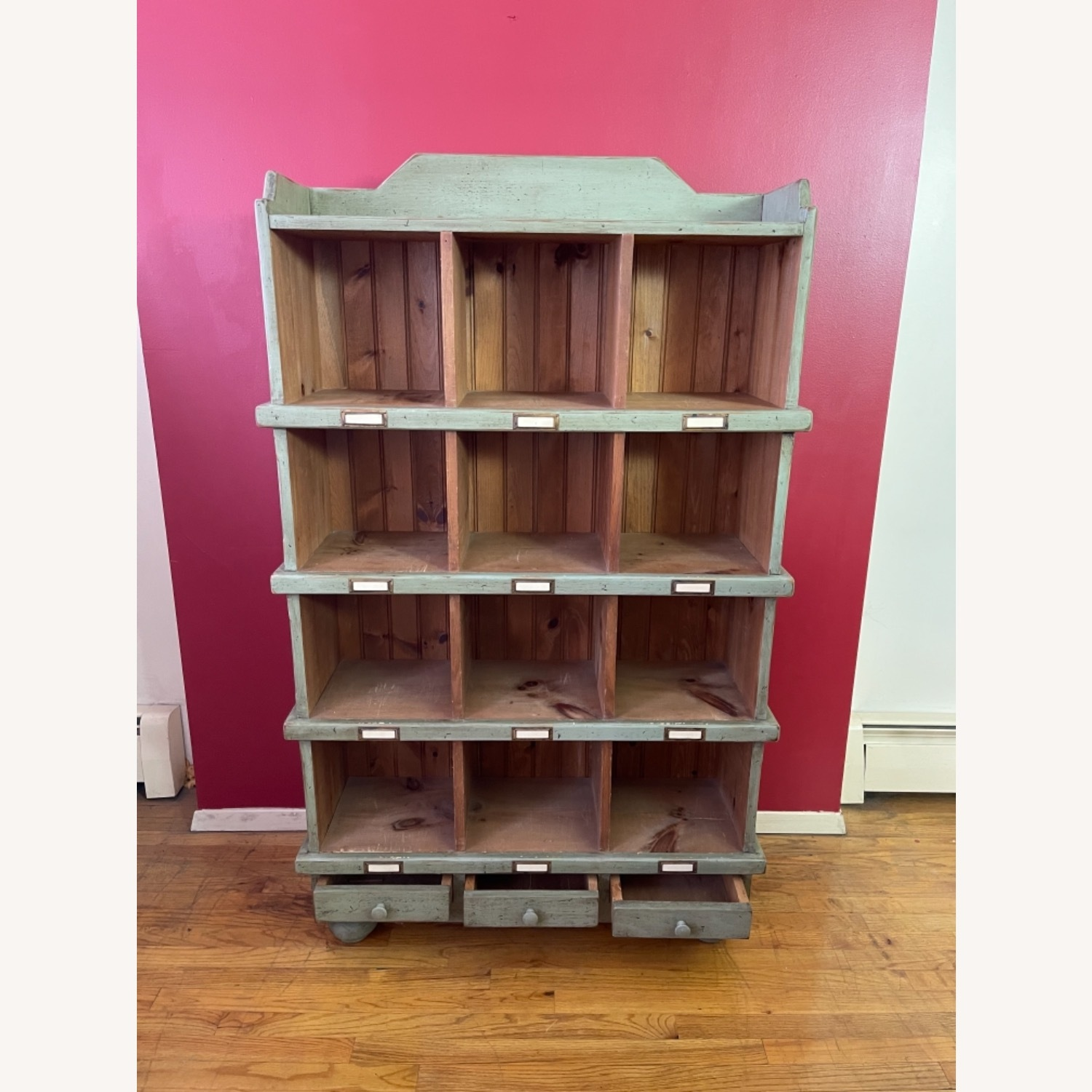 Distressed custom-made Repurposed Pine Bin Storage - image-6