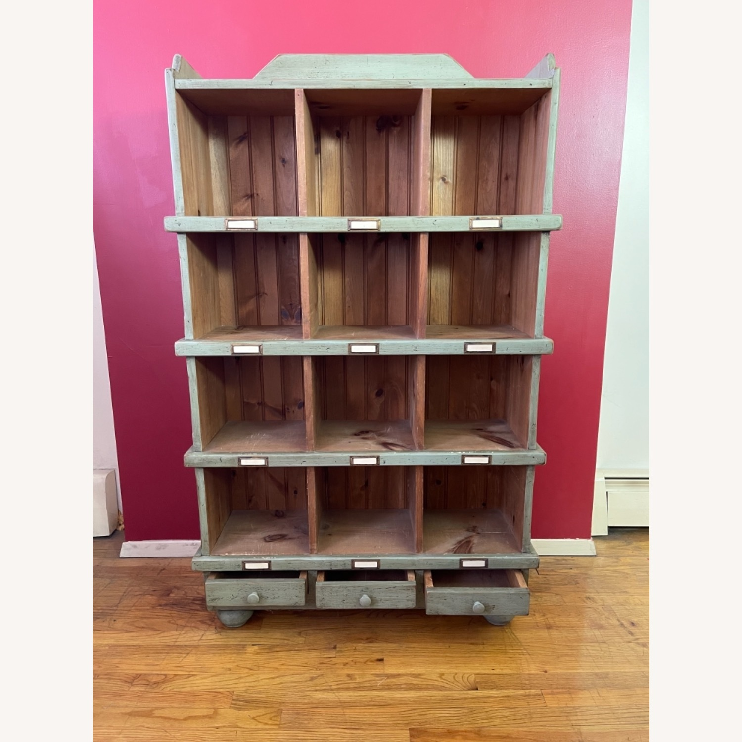 Distressed custom-made Repurposed Pine Bin Storage - image-1