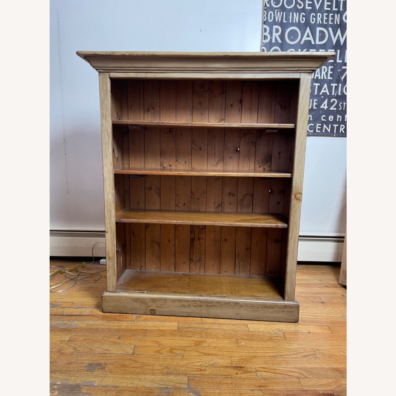 Distressed Adjustable Shelf Repurposed Pine Bookcase - image-1