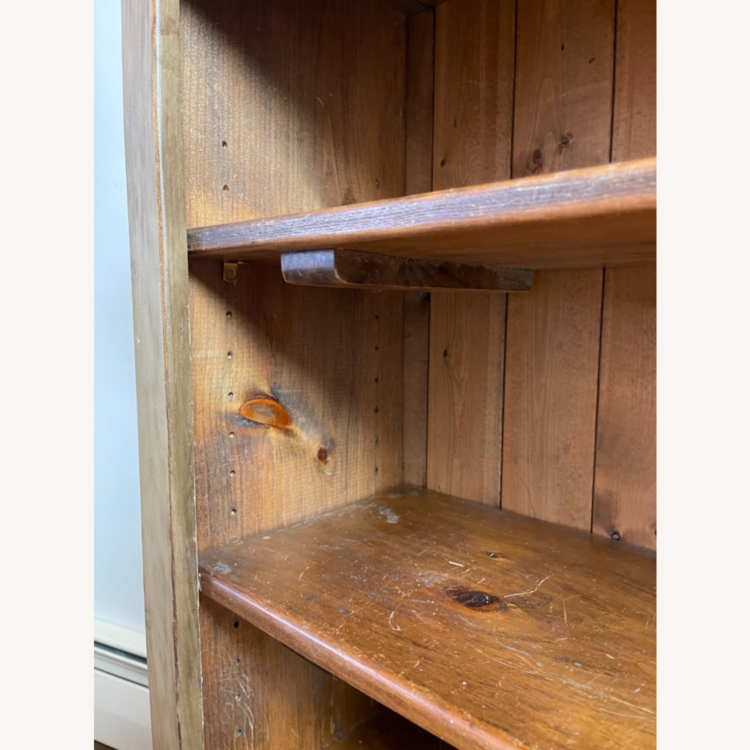 Distressed Adjustable Shelf Repurposed Pine Bookcase - image-4