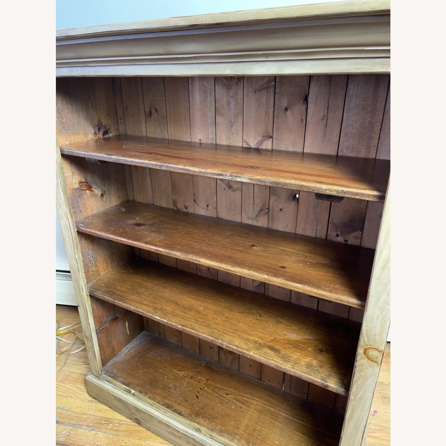 Distressed Adjustable Shelf Repurposed Pine Bookcase - image-2