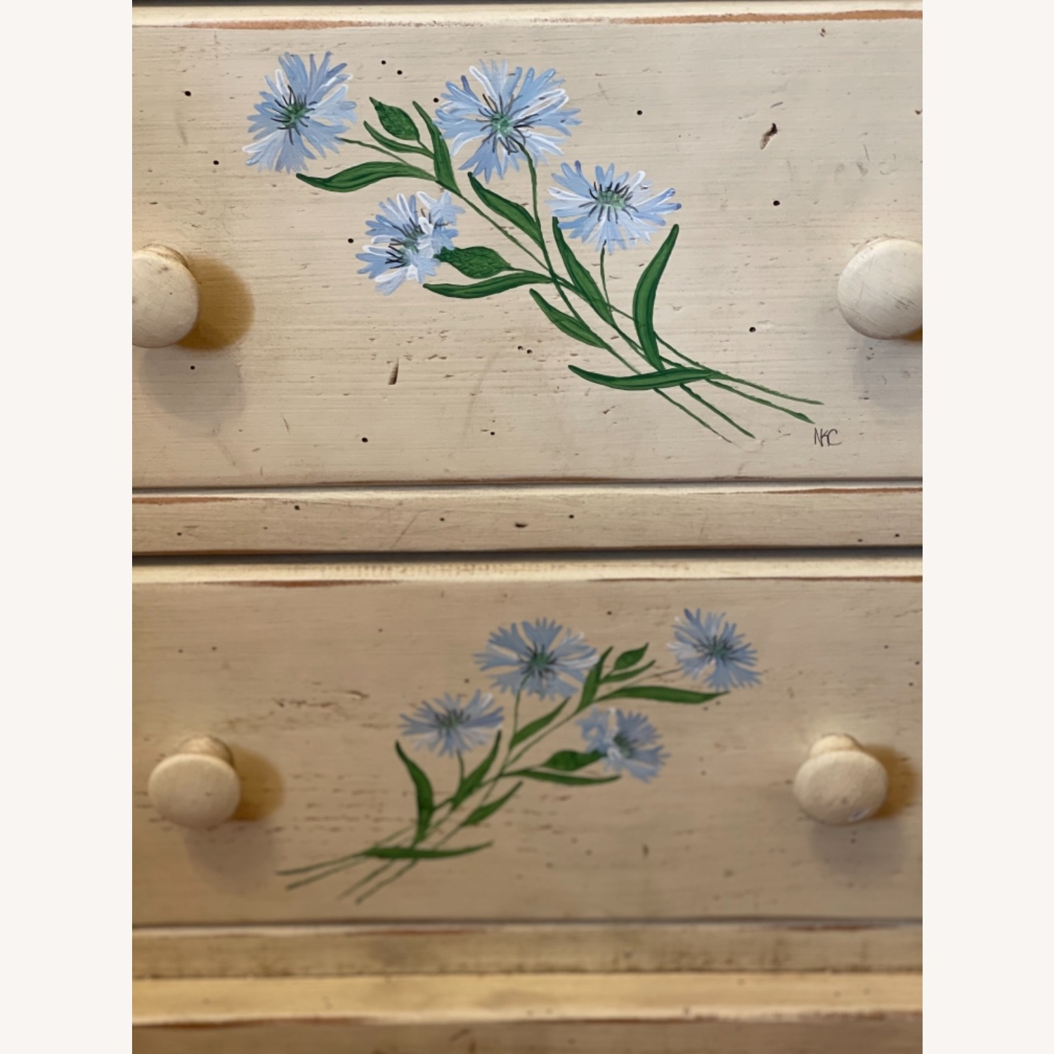 4 Drawer Custom Designed Hand Painted Side Table - image-3