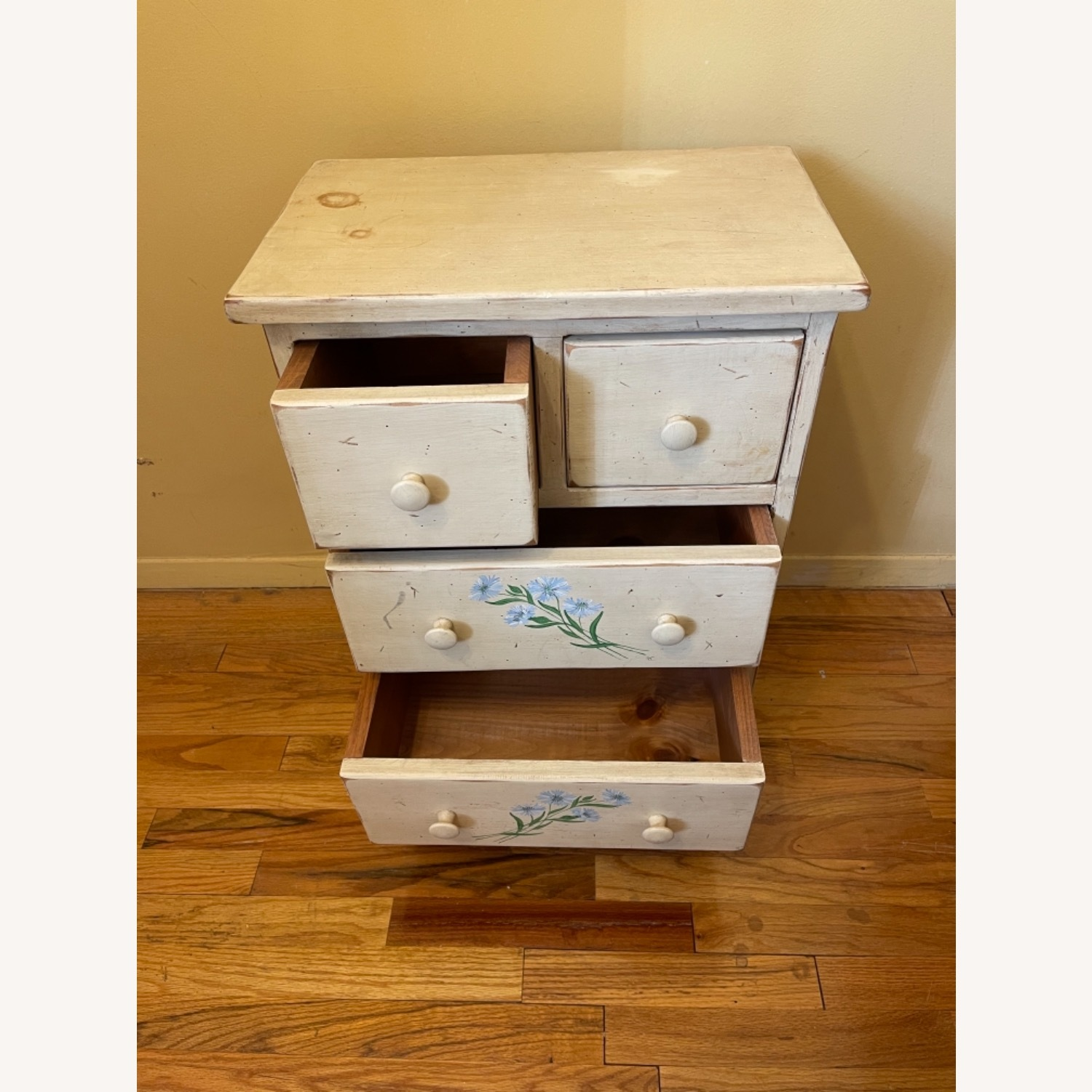 4 Drawer Custom Designed Hand Painted Side Table - image-1