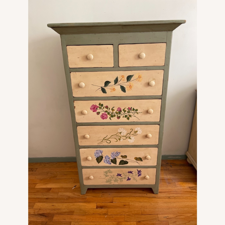 Custom Designed Repurposed Pine Dresser w/ flowers - image-1