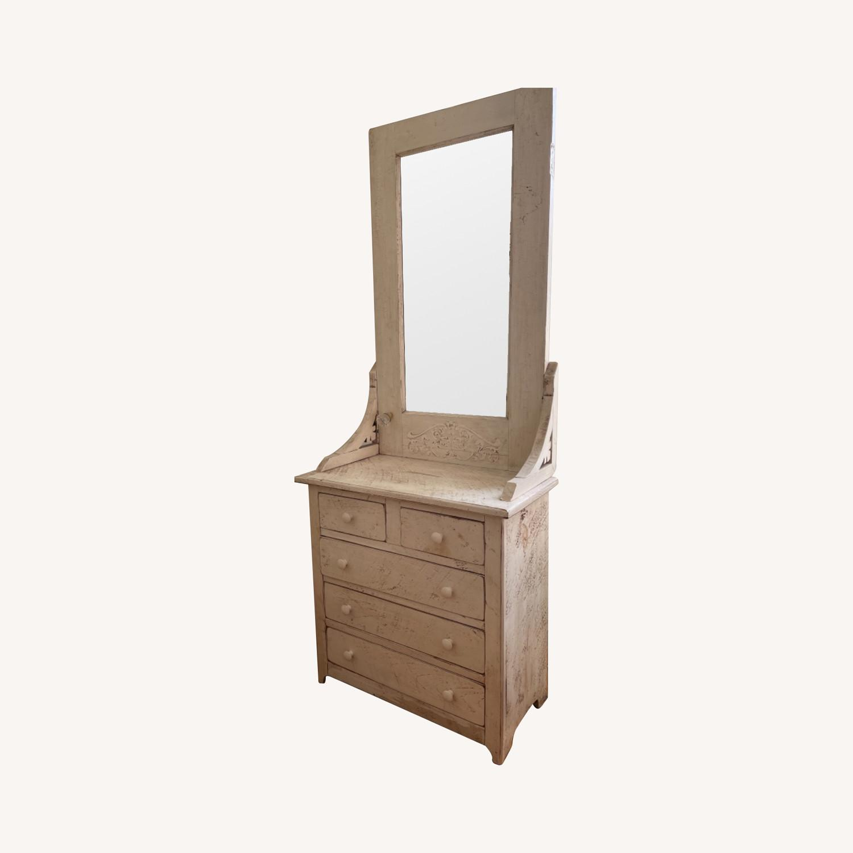 Custom Distressed Repurposed Pine Vanity w/ mirror - image-0