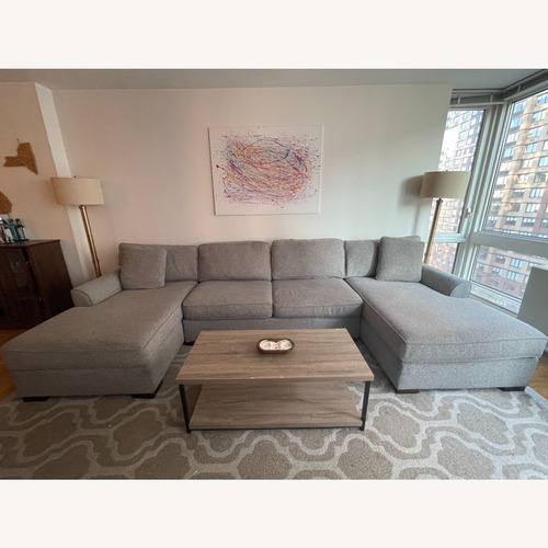 Used Macy's 3 Piece Sectional with Double Chaise for sale on AptDeco