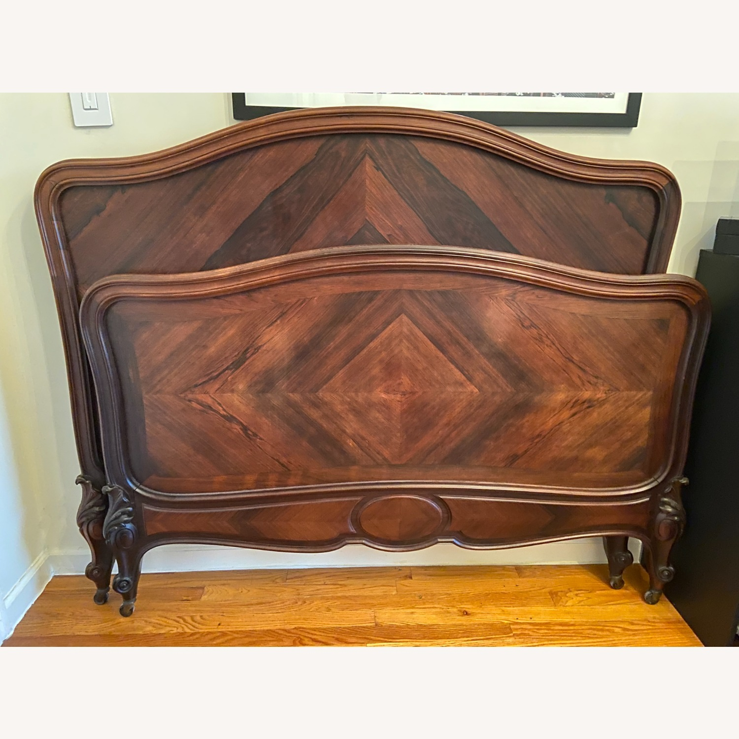 1880's Antique French Rosewood Bed - image-1