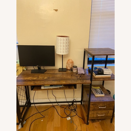 Used Carbon Loft Iron & Reclaimed Wood Desk for sale on AptDeco