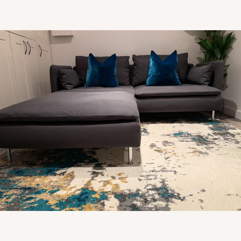 IKEA Grey Fabric Sofa with Ottoman - image-1