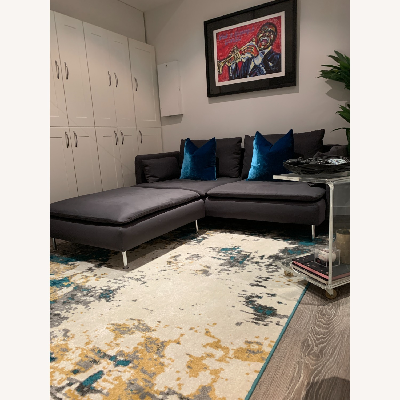 IKEA Grey Fabric Sofa with Ottoman - image-2