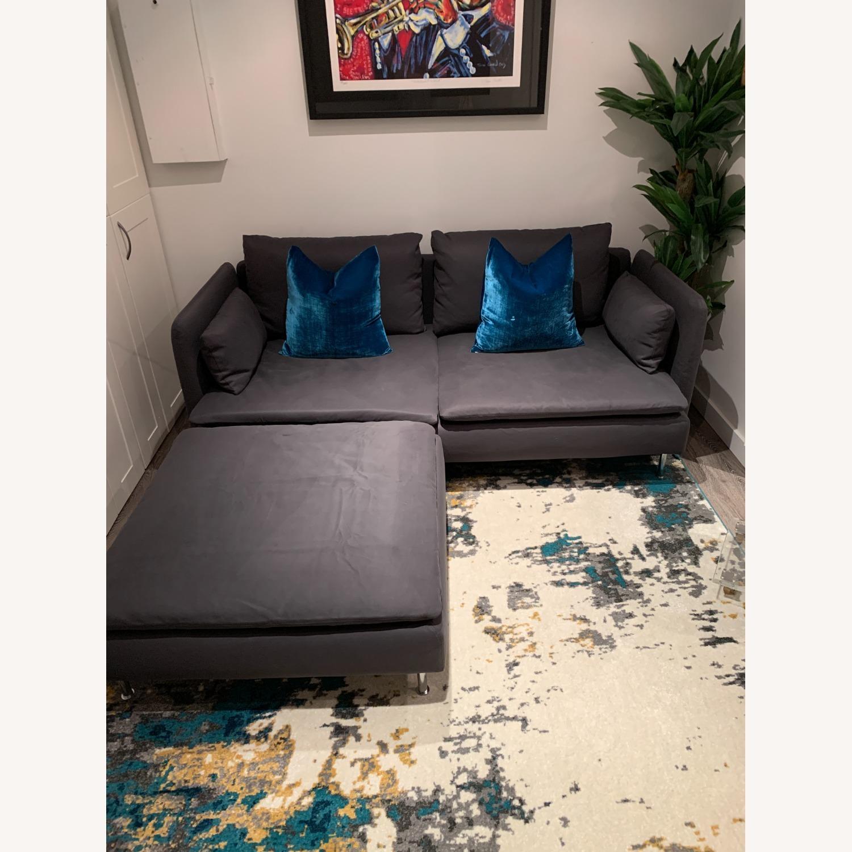 IKEA Grey Fabric Sofa with Ottoman - image-0