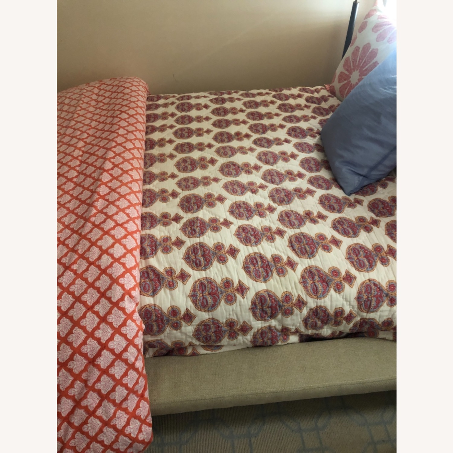 Full Sized Bed in Natural Tweed - image-4
