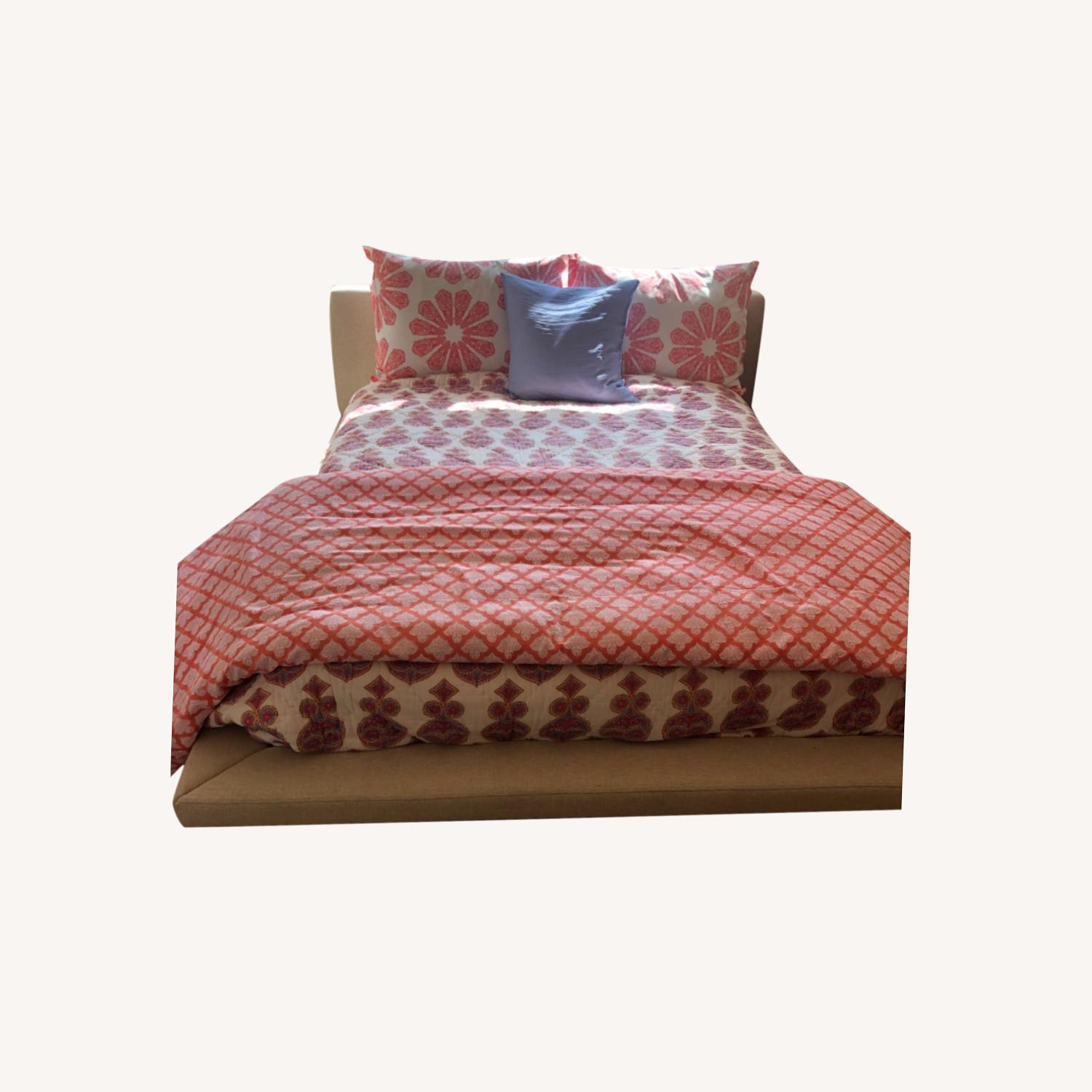 Full Sized Bed in Natural Tweed - image-0