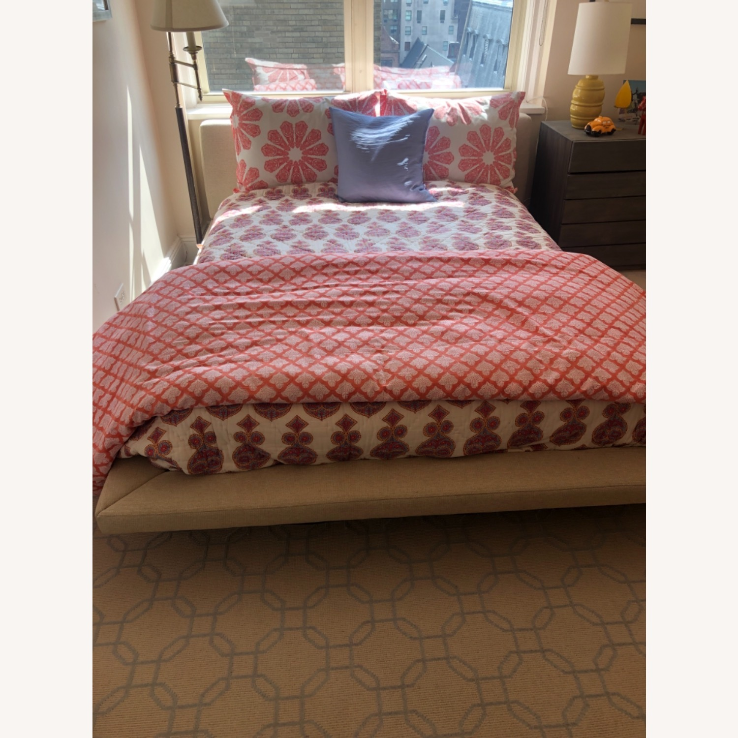 Full Sized Bed in Natural Tweed - image-1