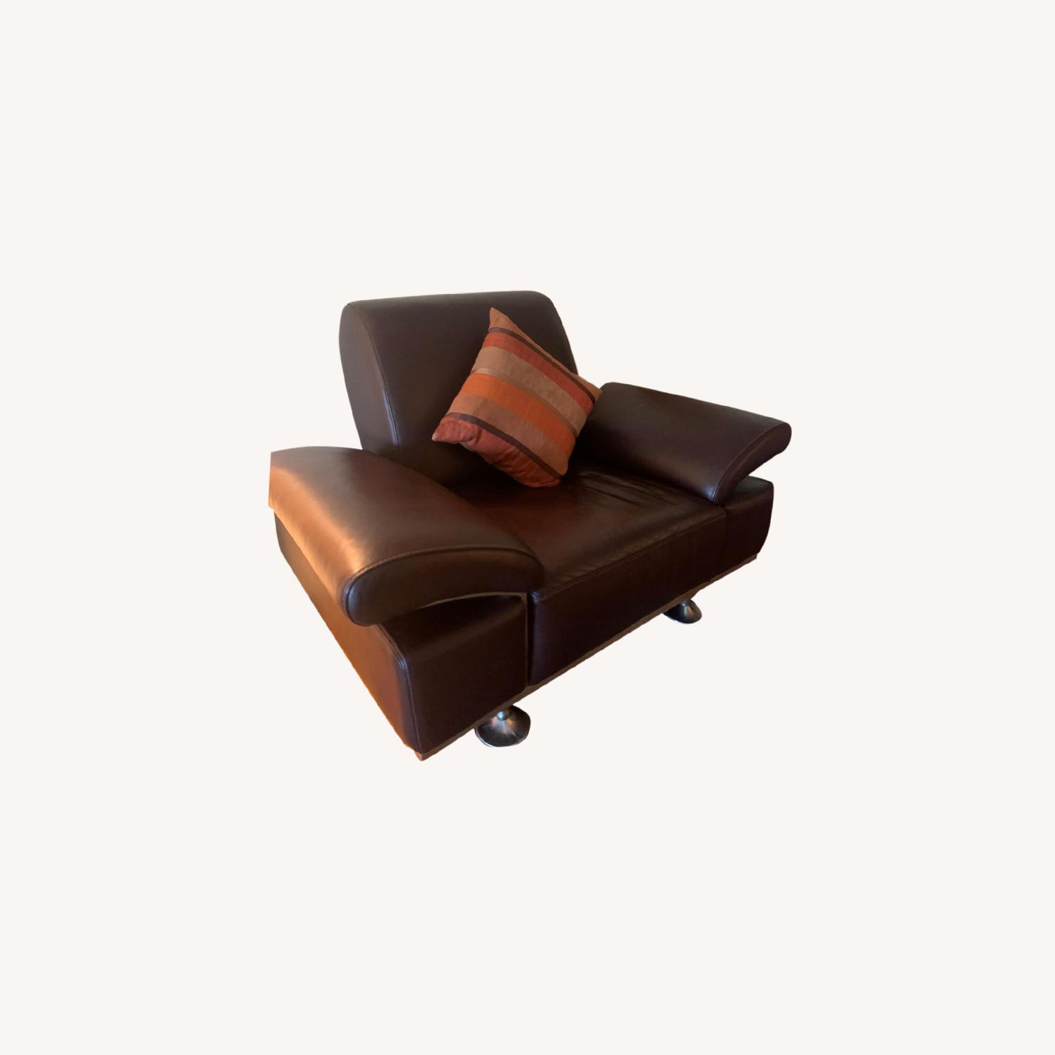Moroni Brown Leather AccentChair - image-0