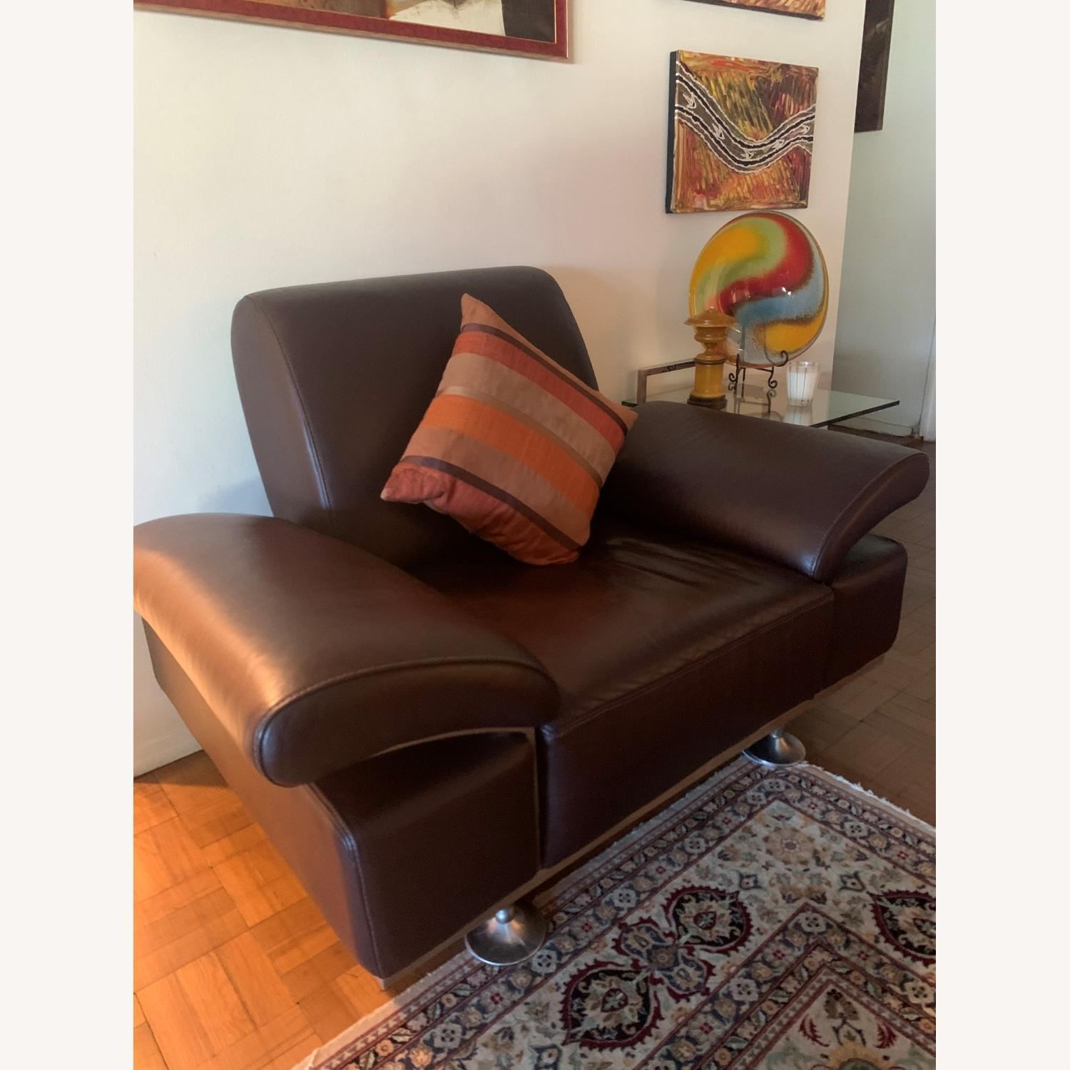 Moroni Brown Leather AccentChair - image-1
