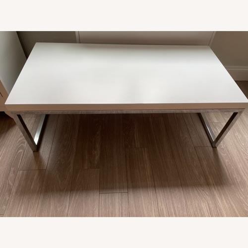 Used Wayfair White/Chrome Coffee Table for sale on AptDeco