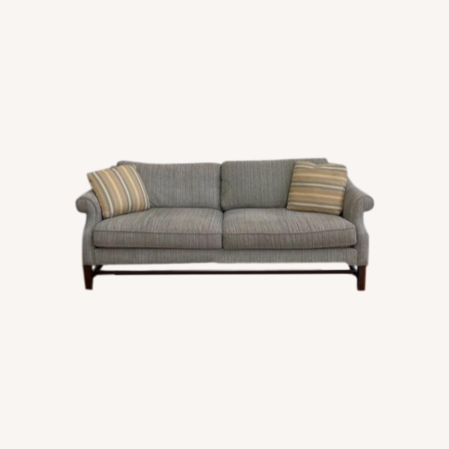 Sofa with Pillows Grey White Blue Blend - image-0