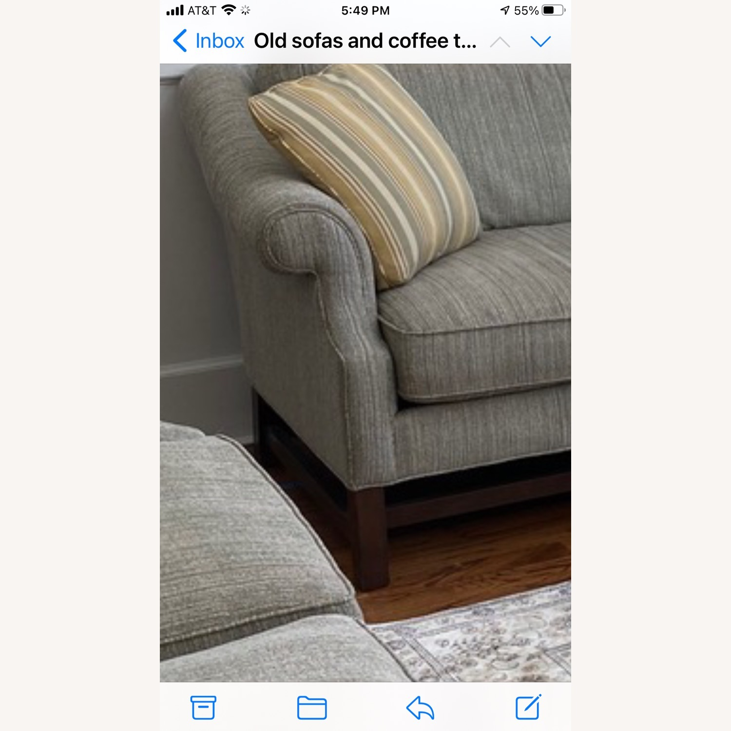 Sofa with Pillows Grey White Blue Blend - image-3