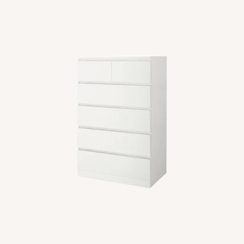 IKEA White Malm 6 Drawer Dresser - image-0