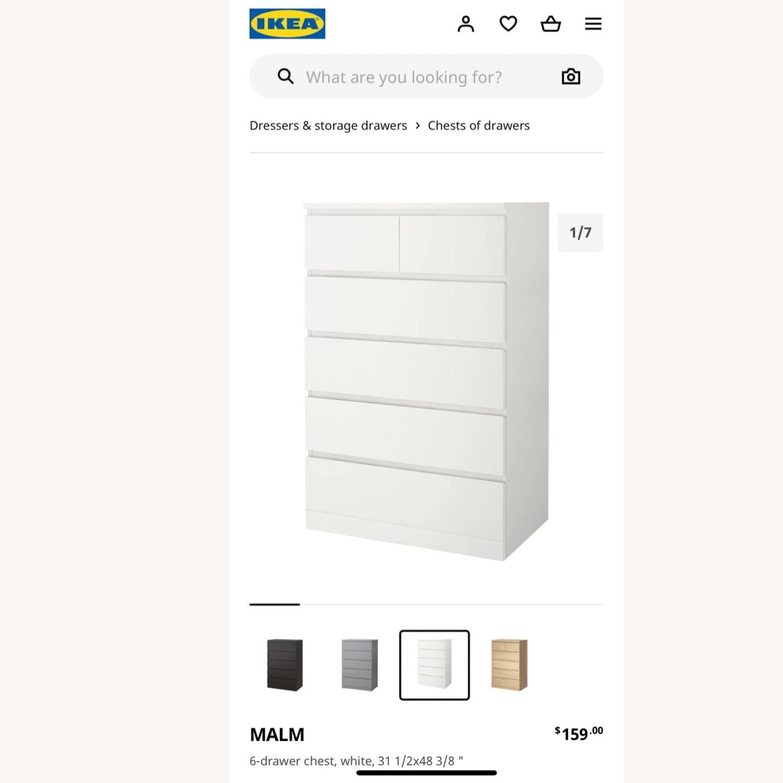 IKEA White Malm 6 Drawer Dresser - image-1