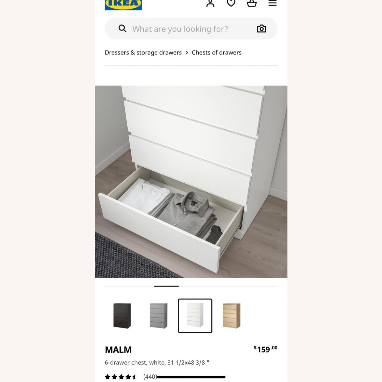 IKEA White Malm 6 Drawer Dresser - image-2