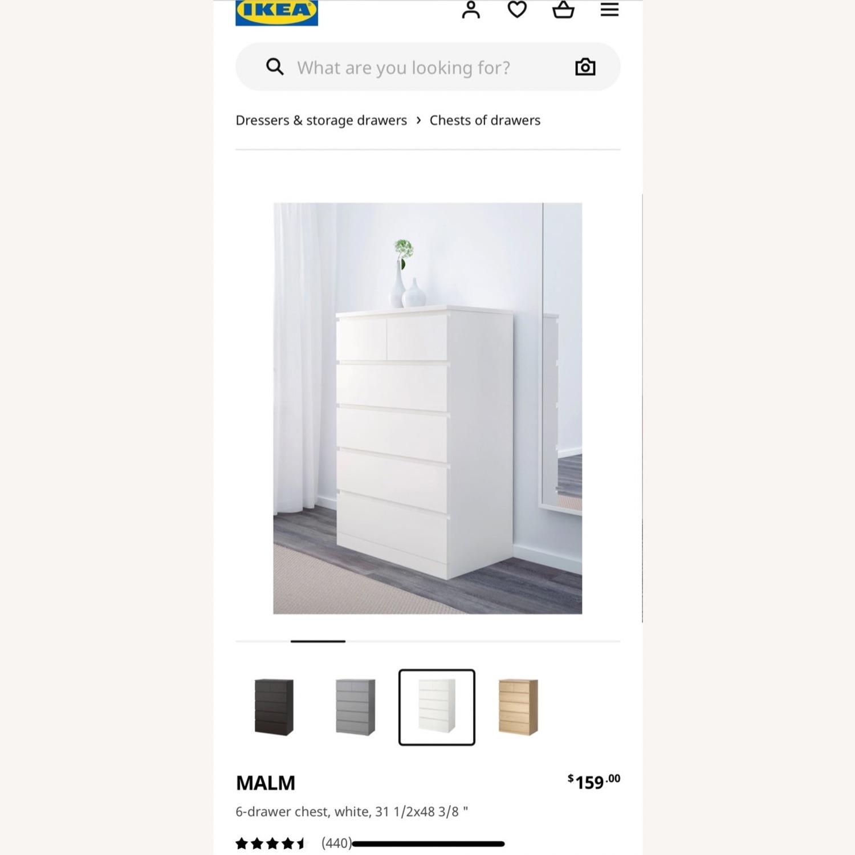 IKEA White Malm 6 Drawer Dresser - image-3