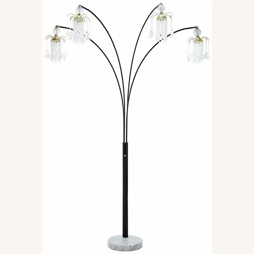 Used Floor Lamp In Black Finish W/ White Marble Foot for sale on AptDeco