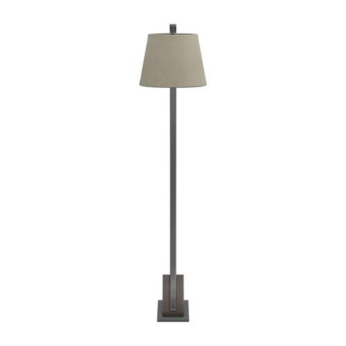 Used Floor Lamp In Brown Orb Metal W/ Oatmeal Fabric for sale on AptDeco