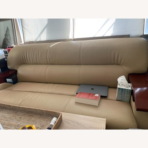 Used Real Leather Sofa with Wooden Arms by VIG for sale on AptDeco