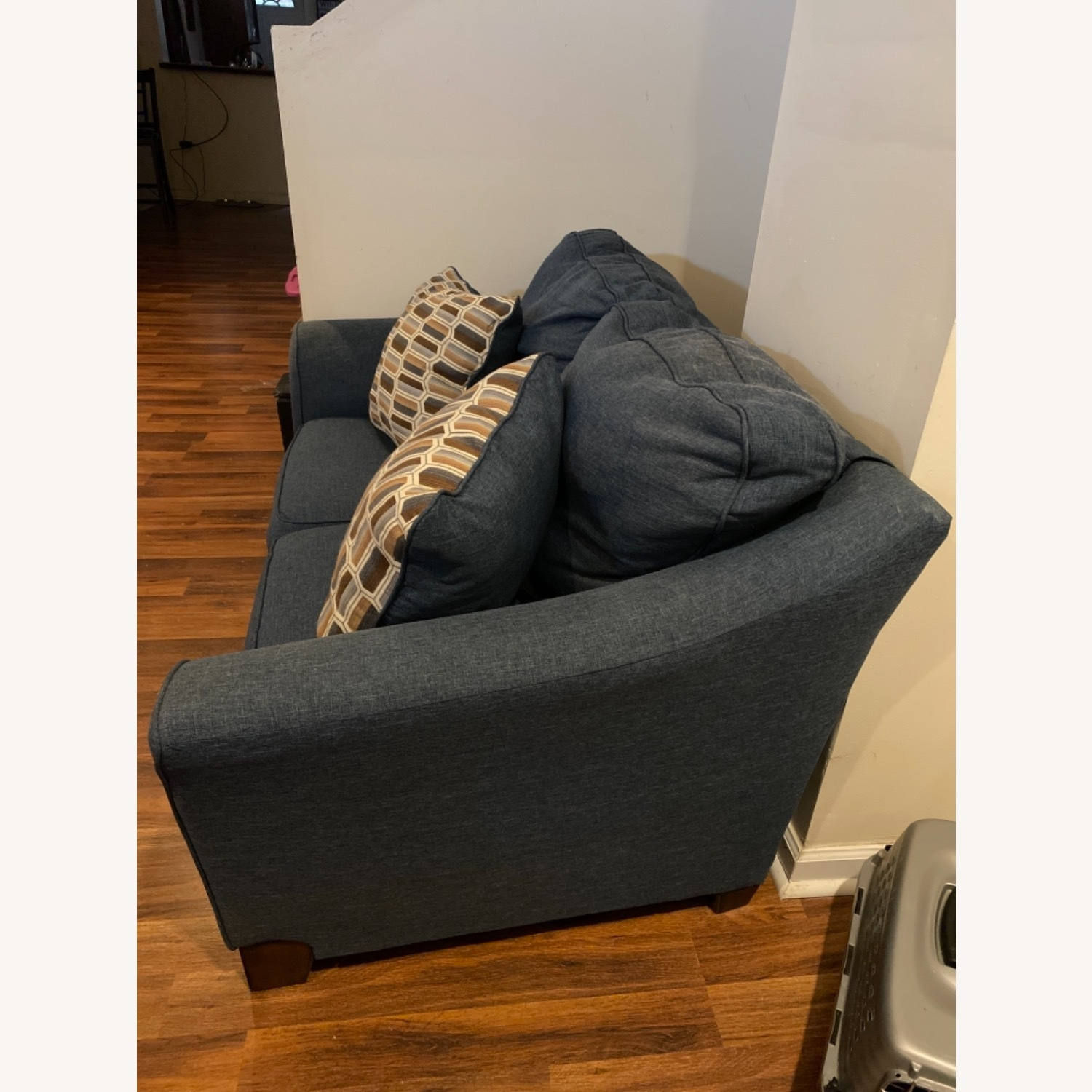 Blue Loveseat with Original Accent Pillows - image-3
