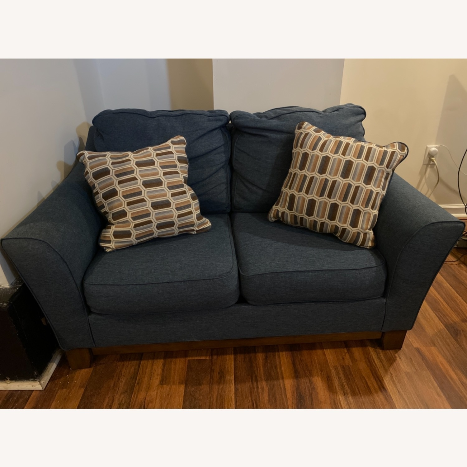Blue Loveseat with Original Accent Pillows - image-1